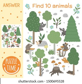 Searching game for children with animals and trees in the forest. Woodland topic. Cute funny smiling characters. Find hidden animals.