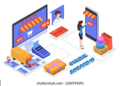 Searching goods in online shop concept. E-commerce concept. Shopping in internet and make digital money payment. Isolated flat vector illustration