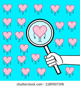 Searching heart or heart research. Vector concept illustration of hand with magnifying glass searching hearts   flat design linear infographic icon on blue background