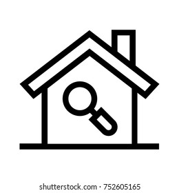 Searching for a home line icon. Finding a house vector illustration with magnifier. Linear style design of real estate property with a magnifying glass.
