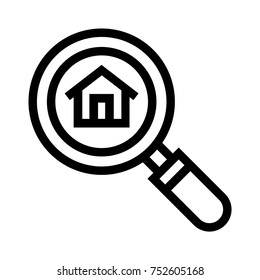 Searching for a home line icon. Finding a house vector illustration with magnifier. Linear style design of real estate property with a magnifying glass. Looking for housemate, roommate, room sharing.