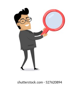 Searching information icon. Smiling man in business suit with big red magnifying glass flat vector illustration isolated on white background. For job, solution, data, people search illustrating