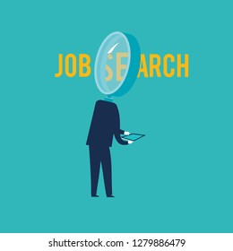 Searching for a job. Vector illustration flat design. Isolated on white background. Business people.
