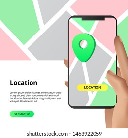 Searching location maps sharing concept. For business, market, shopping direction with smarthphone app with hand illustration. can use for landing page, banner, brochure.