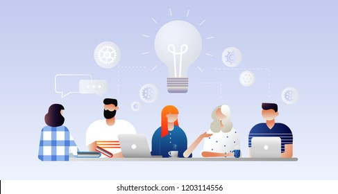 Searching for new ideas solutions,  negotiation, working together in the company, brainstorming, teamwork. Vector illustration. Characters design.
