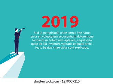 Searching for Opportunities in 2019. Illustration of a businessman looking through telescope. Business concept illustration - Vector