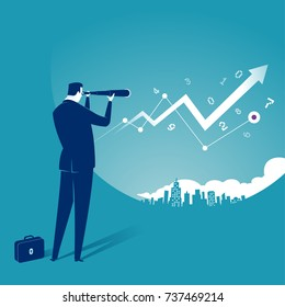 Searching for Opportunity. Illustration of a businessman looking through telescope. Business concept illustration