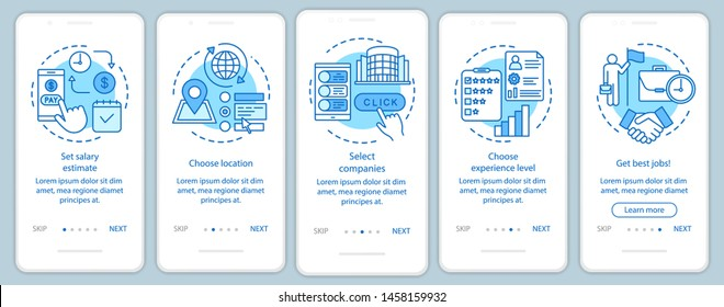 Searching part time jobs blue onboarding mobile app page screen with linear concepts. Select companies, get job walkthrough steps graphic instructions. UX, UI, GUI vector template with illustrations