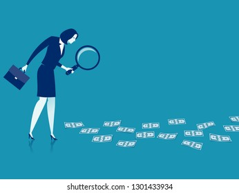 Searching for the profit. Illustration of a businesswoman lookin