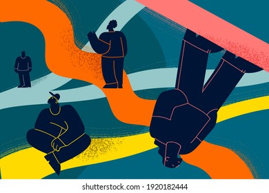 Searching for right life path and way concept. Young people cartoon characters walking through different life routes with important memories going in past by psychotherapy vector illustration