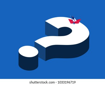Searching solution management business concept. Businessman rowing a paper boat on the big question. Cartoon Vector Illustration.