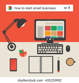Searching the web for information about how to start a small business vector illustration