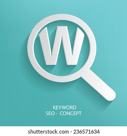 Searching,Keyword symbol on blue background,clean vector