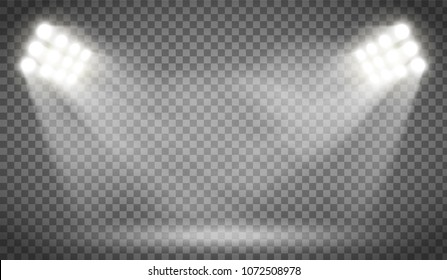 Searchlight illuminates the blank backdrop. Template with floodlight for presentation on a transparent background. Stock vector illustration.