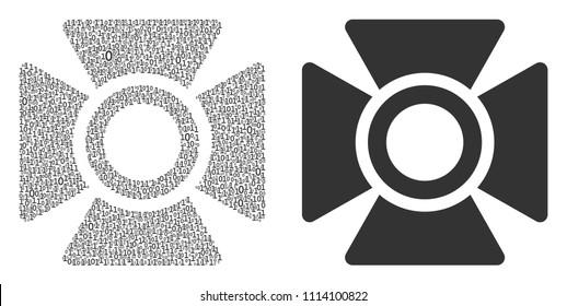 Searchlight mosaic icon of zero and null digits in randomized sizes. Vector digit symbols are composed into searchlight composition design concept.