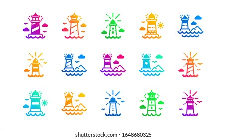 Searchlight tower with seagull for marine navigation of ships. Lighthouse icons. Sea pharos, lighthouse or beacon icons. Classic set. Gradient patterns. Quality signs set. Vector
