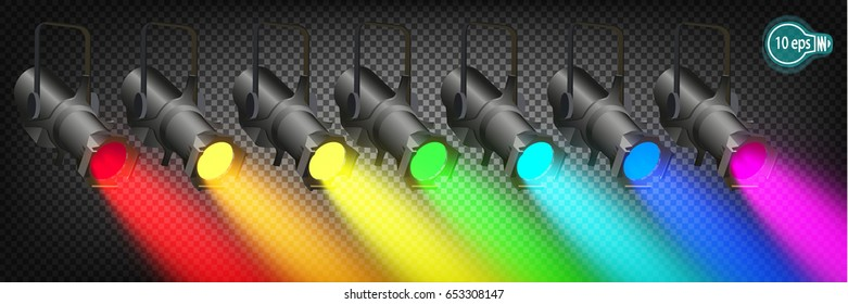 Searchlights, spotlights scenes or platforms at Carnival Mardi gras.Lighting in color pride in vector isolated on transparent background.EPS 10