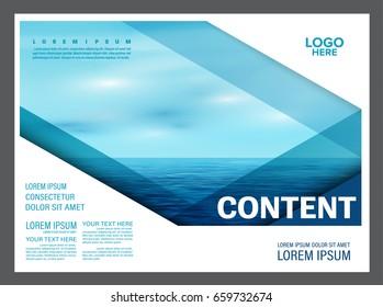 Seascape and blue sky presentation layout design template background for tourism travel business. illustration vector artwork.