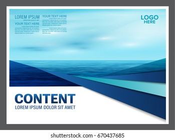 Seascape and blue sky presentation layout design template background for tourism travel business. illustration vector artwork.