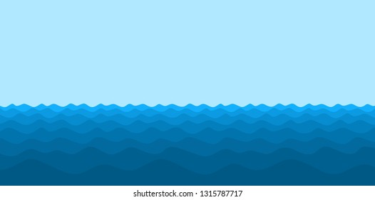 Seascape with blue wave.
