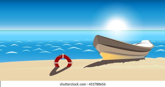 seascape boat sandy beach vector icon isolated. Modern tropical beach picture. Trendy sketch decoration symbol for website design, web banner, mobile app. Vector boat on beach background illustration.