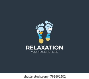 Seascape and foot logo template. Feet and beach vector design. Resort illustration