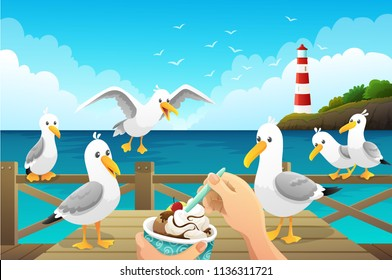 Seascape with greedy seagulls watching a person eat an ice cream on the wooden pier. Vector illustration