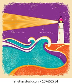 Seascape horizon. Vector illustration with lighthouse on grunge paper texture