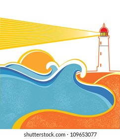 Seascape horizon. Vector illustration with lighthouse on white