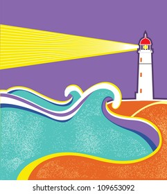 Seascape horizon. Vector illustration with lighthouse for design