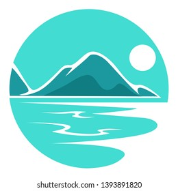 Seascape or landscape corporate identity round isolated icon vector rocks or mountains sea shore or ocean coast tropical beach night or evening and moonlight nature view emblem or logo water and mount