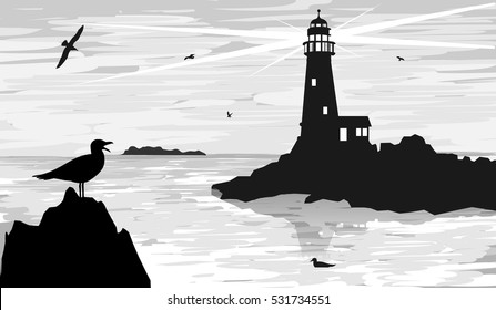 seascape lighthouse on the horizon with a gull. vector illustration