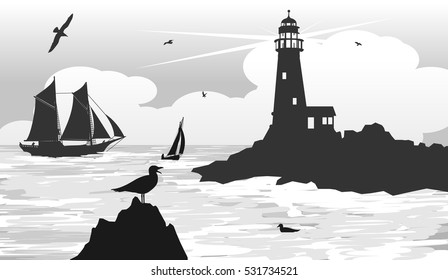 seascape lighthouse on the horizon with a seagulls, ship and boat. vector illustration