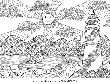 seascape line art design coloring 260nw