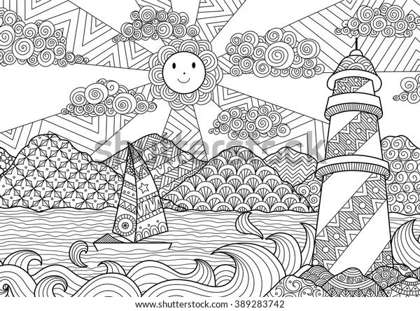 Image Vectorielle De Stock De Conception D Une Ligne De Paysages Marins 389283742