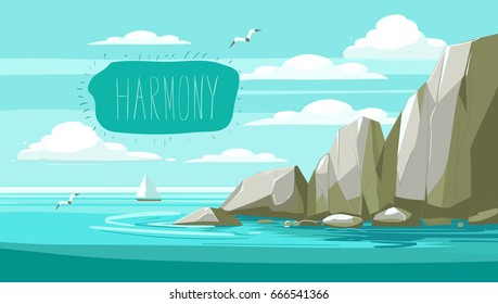 Seascape with rocks and clouds.Vector cartoon illustration