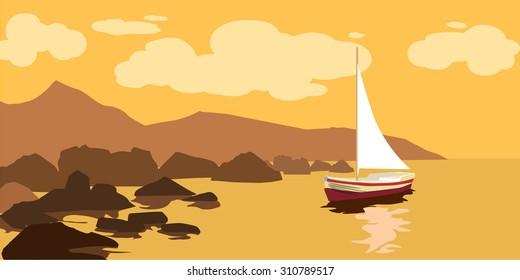Seascape, rocks, sea, sail boat, vector, banner, illustration