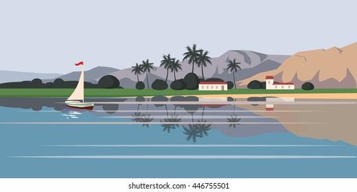 Seascape, sailboat, palm trees, mountains, vector illustration