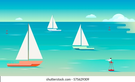 Seascape with sailing yachts