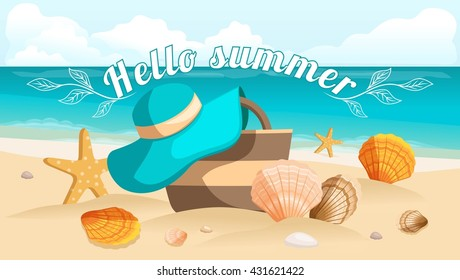 Seascape, sea, beach, beach bag, beach hat, seashells, stones. Design postcard, Sunburst text hello summer. Vector illustration