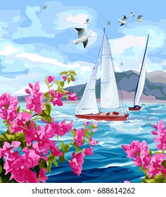 Seascape. Sea, yachts, mountains, flowers and gulls.