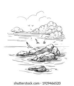 Seascape sketch. Sea, rocks, seagulls, landscape. Hand drawn illustration converted to vector. Black outline on transparent background