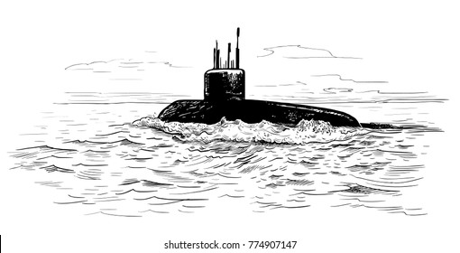 Seascape with a submarine. A hand-drawn vector sketch.