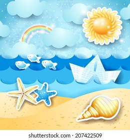 Seascape with sun, seashells and paper boat. Vector eps 10
