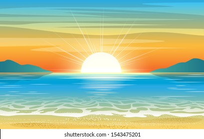 Seascape sunset. Summer ocean abstract illustration with sun dawn and sea water, vacation sunrise background, relaxing tropical beaches horizon vector illustration