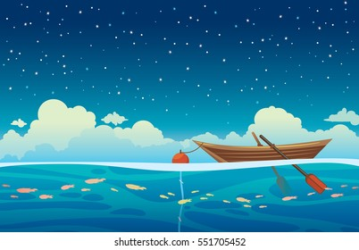 Seascape vector illustration - wooden boat with buoy at the blue sea on a night starry sky with clouds.