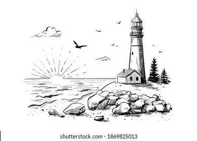 Seascape - view of the coastline, rocks, ocean, waves, lighthouse, house, fir trees. The sun sets over the horizon, the rays illuminate the clouds and a cape with a beacon tower, a sandy shore. Vector