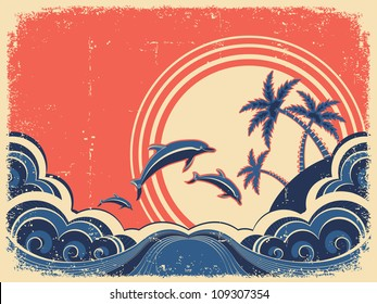 Seascape waves poster with dolphins. Vector grunge illustration on old paper texture