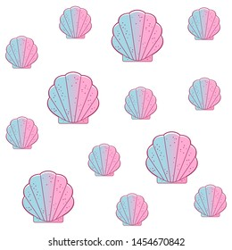 Seashell, bivalved mollusks, seamless pattern. Exotic scallop, marine mollusk wild life-nature. Simple sea shell. Packing house for small dolls. Vector illustration