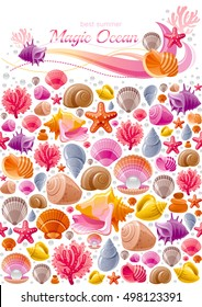 Seashell icon set, underwater banner - sea diving animals, shell, starfish, oyster pearl. Ocean shells icons. Vector illustration flyer template. Isolated on white poster, marine background